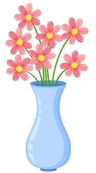 흰색 배경에 꽃 화병