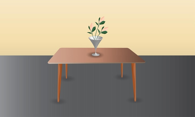 Flower and vase on the table