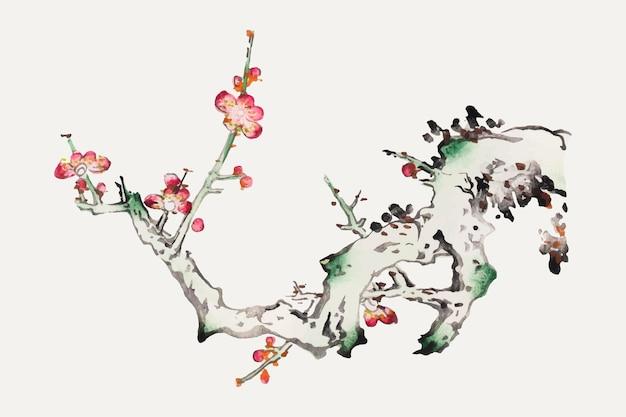 Flower vector botanical art print, remixed from artworks by hu zhengyan