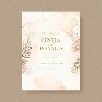 결혼식 초대 카드에 단풍 그림과 꽃 벡터