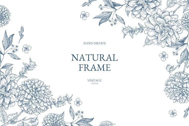 Цветок винтаж границы вектор розы ботанический рисунок Premium векторы