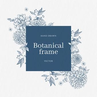 花ヴィンテージボーダーベクトルバラ植物画