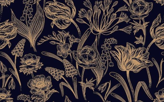 Цветочный старинный бесшовный образец с весенними цветами, золотыми и черными