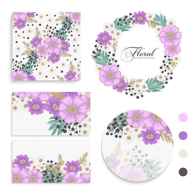 Flower  violet flowers cards, , wreath