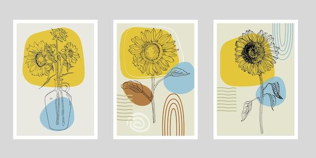 Flower wall art plant of sunflowers set.