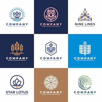 Flower, water, plant, business logo design collection.