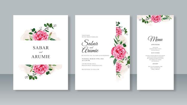 ミニマリストのウェディングカードの招待状セットテンプレートの花の水彩画