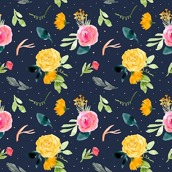 Flower watercolor seamless pattern with dark background