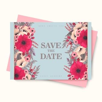 Цветочная свадебная открытка - ярко-розовый цветок