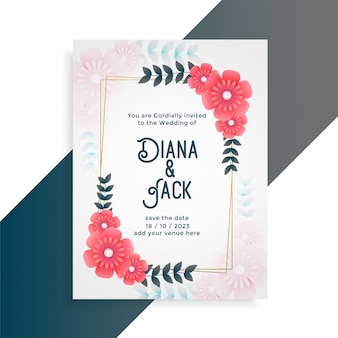 Flower wedding card invitation template