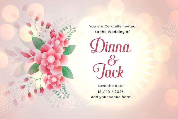 Flower wedding card template with space for text