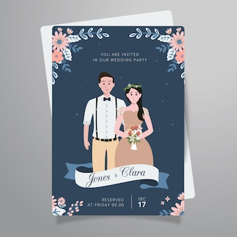 Flower wedding couple invitation