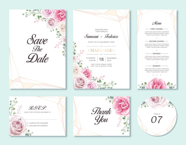 Flower wedding invitation card set template