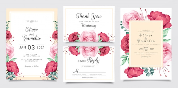 Flower wedding invitation card template set with watercolor floral frame and border
