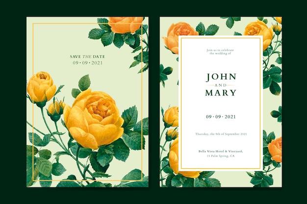 Цветочная свадьба пригласительный билет шаблон вектор