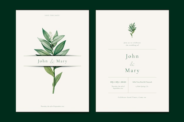 Flower wedding invitation card template vector