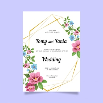 Flower wedding invitation card template