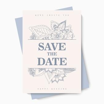 花の結婚式の招待カード-青い花
