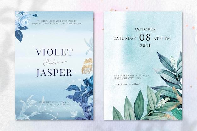 빈티지 공개 도메인 이미지에서 리믹스된 미적 테두리 벡터가 있는 꽃 결혼식 초대장 템플릿