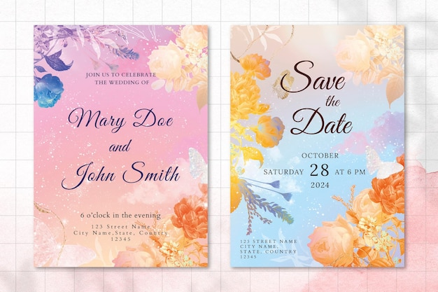 Flower wedding invitation template with aesthetic border vector, remixed from vintage public domain images