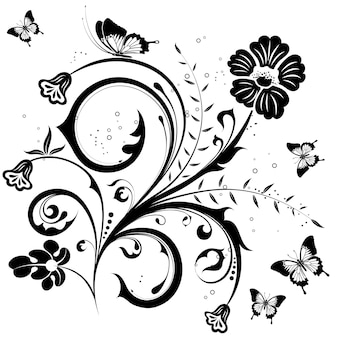 Flower with butterfly, element for design, vector illustration