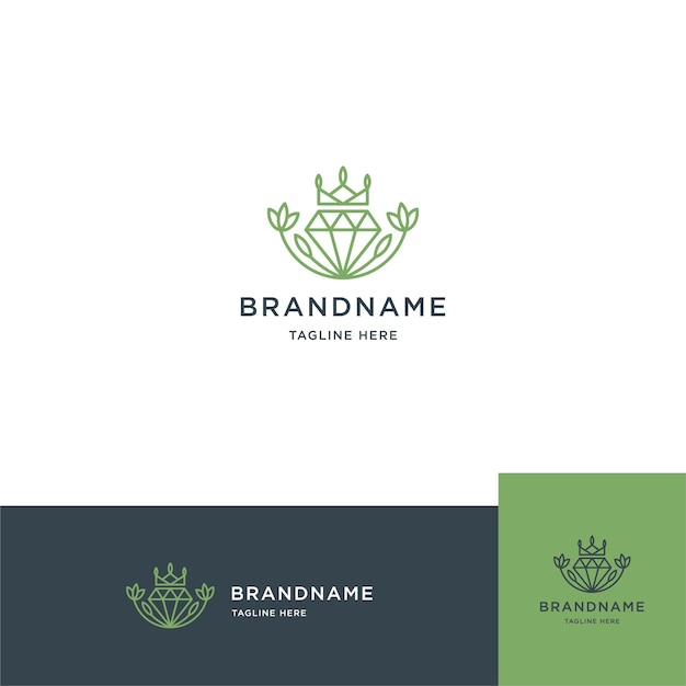 Flower with diamond logo flower and diamond line logo template