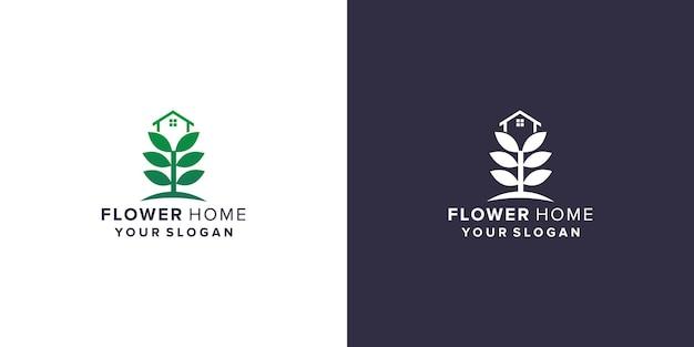 Flower with home logo design