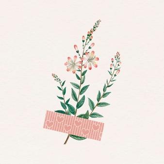 Fiore con un elemento di design con nastro adesivo washi rosa