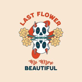 티셔츠에 해골 할로윈 캐릭터 빈티지 스타일이 있는 꽃