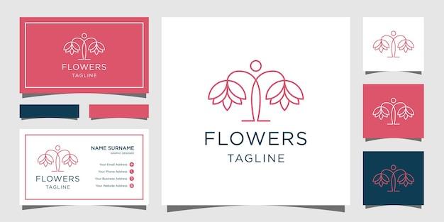 花の女性のラインアートスタイル。ラグジュアリーサークル、ビューティーサロン、ファッション、スキンケア、化粧品、自然、スパ製品。ロゴと名刺のテンプレート。