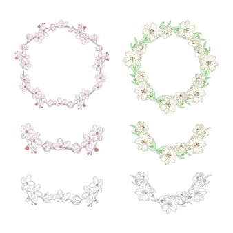 Flower wreath collection ornament elements hand drawn