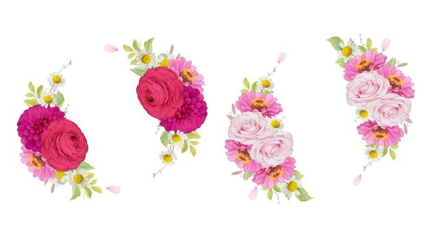 Ghirlanda di fiori rosa scuro