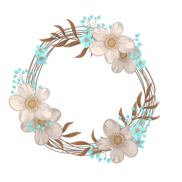 Flower wreath drawing  circle frame with flowers