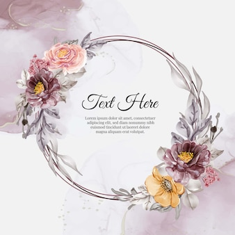 Flower wreath frame of flower flower pink purple orange