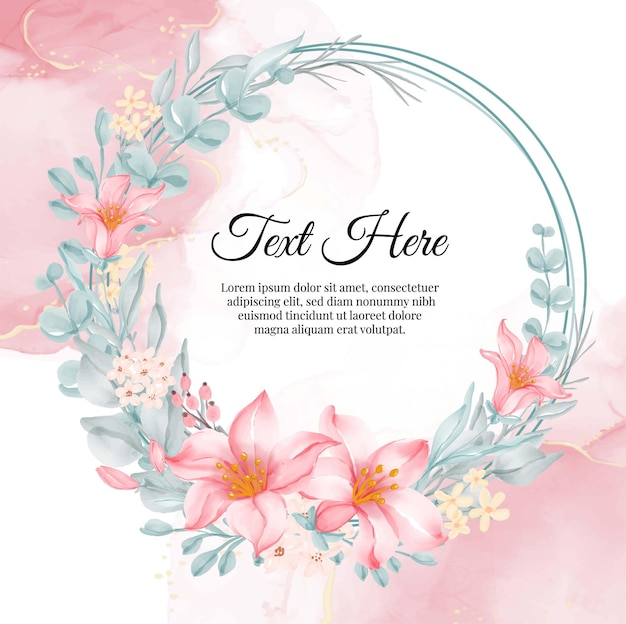 Flower wreath frame of flower lily pink