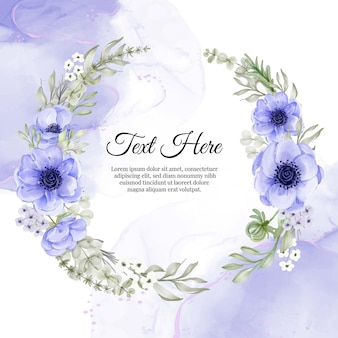 Flower wreath frame of flower purple anemone