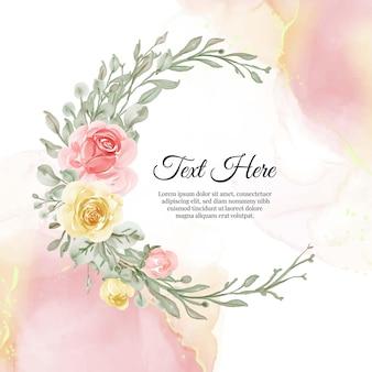 花のブルーフラワーリースフレームフラワーイエローピーチのフラワーリースフレーム