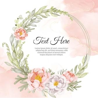 花牡丹桃と白の花の花輪フレーム