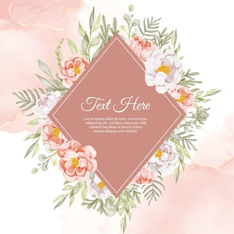 Цветочный венок рамка из цветочных пионов персиковый и белый