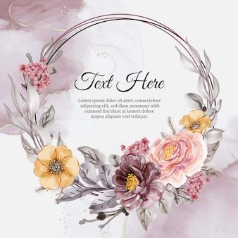 花ピンクパープルオレンジの花の花輪フレーム