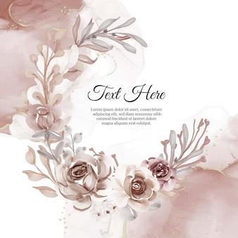 花テラコッタの花の花輪フレーム