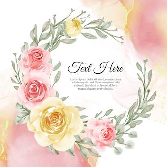 결혼식을위한 꽃 노란색과 복숭아의 꽃 화환 프레임