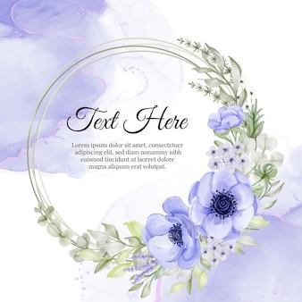 보라색 아네모네 꽃의 꽃 화환 프레임