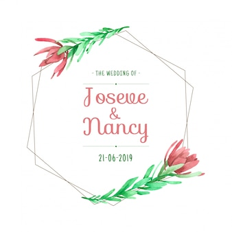 Flower wreath hand drawn wedding card template