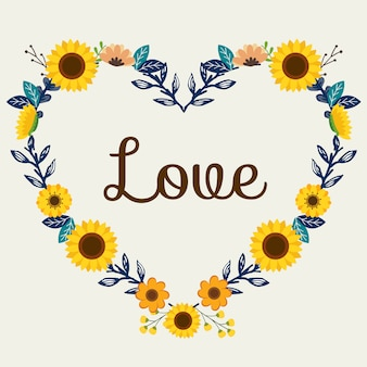 The flower wreath in heart shape with sunflower and love text.