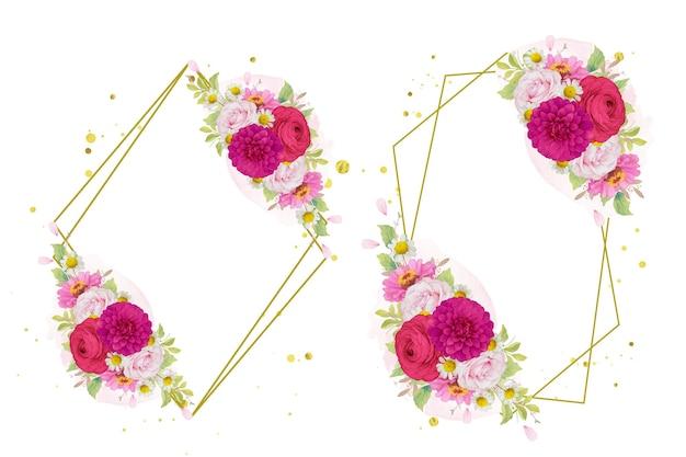 진한 분홍색 꽃의 꽃 화환