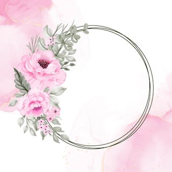Flower wreath pink  illustration watercolor