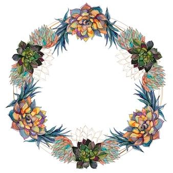 Flower wreath of succulents festive frame