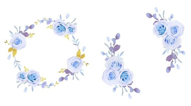 Ghirlanda di fiori di rose blu acquerellate