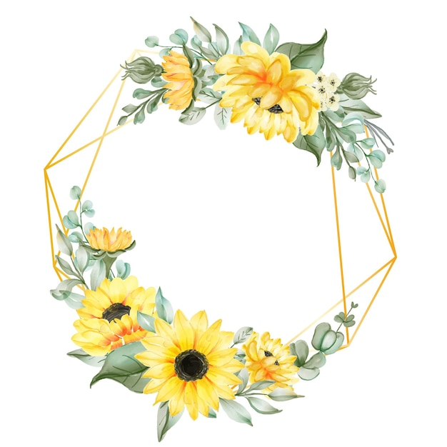 Flower wreath with geometry frame and sunflowers